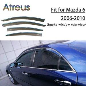 Atreus 1set ABS Yağmur Duman Pencere Visor Araba Rüzgar Deflektör için Mazda 6 2006 2007 2008 2009 2010 Aksesuarlar
