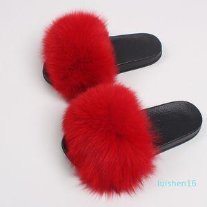 Ethel Anderson Plush Fox Slides Women Summer Slippers Beach Fluffy 100% Real Raccoon Fur Flip Flops Sandals Shoes l16