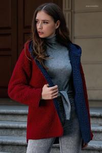 Renkli Bayan Sıcak Palto Kadın Tasarımcı Polar Hırka Ceket Moda Taraflar Kış ceket giyin Can