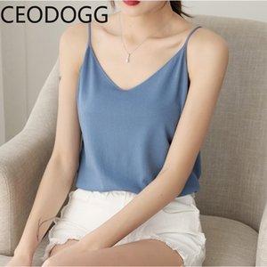 Ceodogg atractivo del hombro sin mangas de Camis de las mujeres de Corea del Ins V cuello inferior de punto Mutlicolor mangas de la hembra del verano 2020 Nueva Delgado