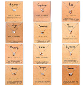 Hot 12 zodiac Necklaces with Gift card constellation sign Pendant Silver chains Necklace For Men Women Fashion Jewelry in Bulk