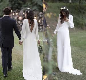 Бифштексы Белые свадебные платья 2020 V шеи Backless Поезд стреловидности шифон Beach Garden Country Свадебные платья Платье-де-Novia Плюс Размер Дешевые