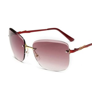 Роскошные женские солнцезащитные очки Fashion Gradient Солнцезащитные очки без оправы Зеркальные женские солнцезащитные очки с большой металлической оправой Солнцезащитные очки без оправы оптом