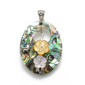 HOPEARL Jewelry Flowers Pendant Genuine Natural Abalone Paua Shell Beach Wedding Bridal Jewellery Gift 6 Pieces
