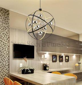Moderno metal negro led luz colgante de cromo bola de cristal sala de estar led lámpara colgante comedor colgante luz led luces colgantes LLFA