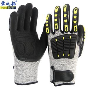 ROTOSAFETY Ударопрочный перчатки 13G Серый HPPE Уровень 5 Shell Black нитрил Sandy Лакокрасочные Безопасность Рабочие перчатки TPR перчатки