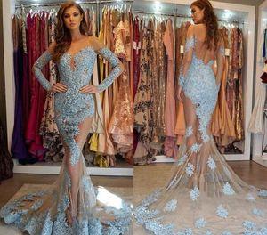 Элегантные прозрачные вечерние платья без спинки 2019 Саудовская Аравия Дубай с длинными рукавами праздничная одежда вечерние платья выпускного вечера плюс размер