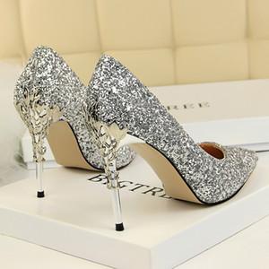 Moda argento lucido oro paillettes Wedding Shoes Bling promenade di sera di banchetto a punta con tacco a spillo da damigella d'onore scarpe sandali tacco alto 2020