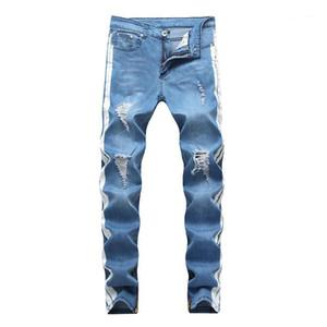 بالأسى طويل أزرق فاتح مخطط جان السراويل ملابس رجالي أزياء الرجال مصمم الجينز عارضة ممزق