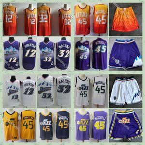 Mens UtahnbaJazzDonovan Mitchell 45 City Earned Basketball Jerseys Rudy Gobert 10 John Stockton Karl Malone Stitched Shirts