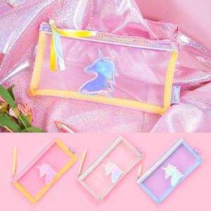 New Transparent Paillette unicorn Silica Gel PVC Plastic Pencil Bag Pencil Case Cosmetic Bag School Supply