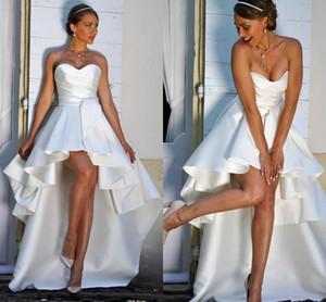 새로운 고 낮은 보헤미안 웨딩 드레스 2020 끈이 레이스 백업을 하이 - 로우 겸손한 A 라인 비치 신부 드레스 Vestido 드 노비 저렴한