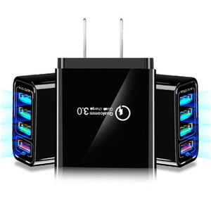 빠른 빠른 충전기 4 개 개의 USB 포트 QC3.0 Eu를 미국 AC 홈 여행 벽 충전기 전원 어댑터 플러그 삼성 S8 S10 주 10 htc의 안드로이드 전화 PC