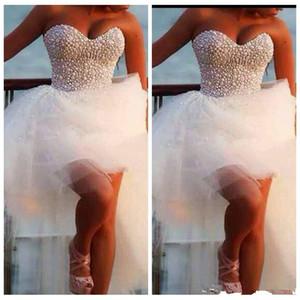 봄 2019 아가 하트 페르시 웨딩 드레스 높은 낮은 얇은 명주 그물 Hi - Lo 신부 가운 해변 봄 Vestidos 드 결혼 여성