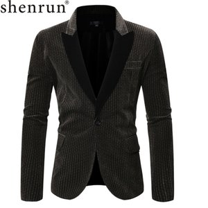 Shenrun Men Blazers Autumn Winter Suit Jackets Gray Coffee Tuxedo Jacket Houndstooth Square Color Banquet Dress Casual Formal