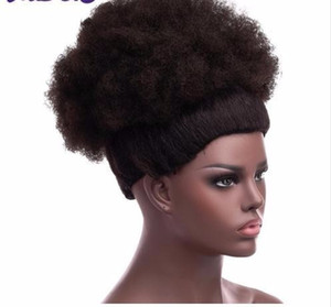 MODA 2019 Sintético Chignon Curly Ponytail Corto Afro Kinky Curly Wrap Cordón Puff Cola Cola Extensiones