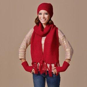 New Mode Femme chaud Woollen Écharpe Gants Chapeaux Bonnet Set dames couleur solide Hiver 3 Piece Set Femmes 2019 Bonnet Fille Hiver