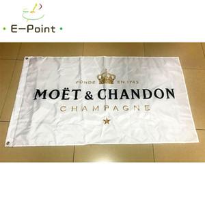 Moet Chandon bayrağı 3 * 5ft (90 cm * 150 cm) Polyester bayrak Banner dekorasyon uçan ev bahçe bayrağı Şenlikli hediyeler