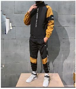Bordado chándales de estilo deportivo otoño del resorte de los sistemas 2pcs Colores Trajes con paneles de moda de ropa para hombre del diseñador Carta