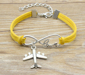 10pcs lot Love lucky 8 Infinity Aircraft airplane Bracelet Charm Pendant Women  Men Simple Bracelets Bangles-178