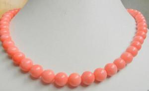 """mulheres bom colar de jóias rosa coral 8 milímetros grânulos redondos 18 """"casamento jóias de prata Genuine Atacado"""