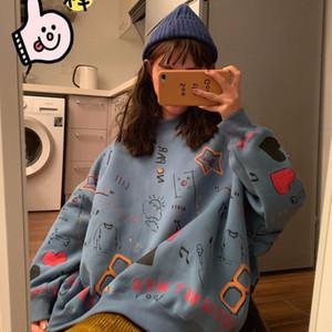 2020 Spring Womens Clothes Hoodies Teen Street Harajuku Hip Hop Pastel Sweatshirt for Women Printing Loose Leisure Hoodie
