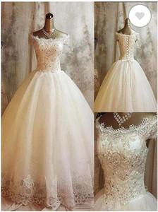 2020 do casamento do estilo New Country Vestidos Lace Applique Boat Neck mangas vestidos de noiva Lace Up Boho bohemain Wedding Dress BC3657