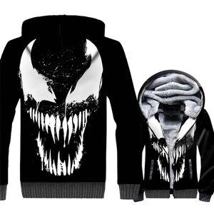 2018 패션 스웨터 남성용 가을 겨울 두꺼운 후드 티 3D 영화 VENOM Streetwear Men 's 운동복 하라주쿠 후드 티 자켓