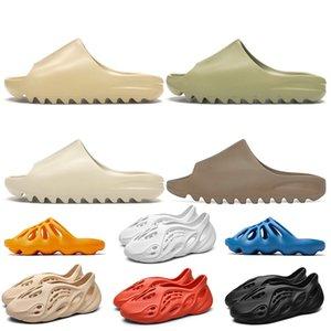 24-45 Kanye West Yeezy Stock x 2020 Lüks Tasarımcı Kanye West Terlik EVA Köpük koşucu Kemik Çöl Kum Reçine Plaj Bayan Erkek Çocuklar Slaytlar Terlik Sandalet
