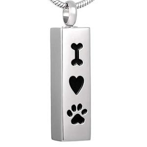 I Love My Dog Cube Memorial Crematorio Urna Colgante Pet Paw Print Collar de acero inoxidable Regalo