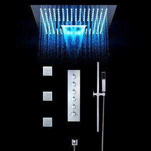 Conjunto de torneira do chuveiro do banheiro 16 polegadas chuveiros de chuva LED luz embutida no teto válvula termostática Cachoeira Showerhead Misty
