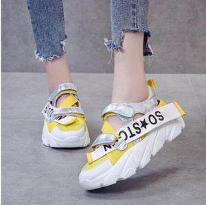 2019 Новый Женщины Повседневная обувь Весна Mesh Женская обувь платформы Lace-Up моды смешанных цветов дышащий женщин тапки