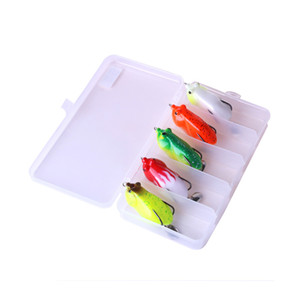 HENGJIA 5pcs lot 6cm 13g Soft Frog Fishing lure 5 colors Artificial Soft Silicone Plastic Boxed fishing Tackle