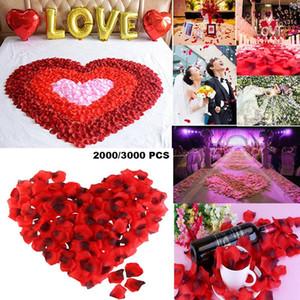 PIXNOR 3000pcs Olmayan Dokuma Gül Yapraklı Gül Yapraklı Nonwoven Düğün Çiçek Dekorasyon Simülasyon Dekorasyon (Parlak Kırmızı Siyah)