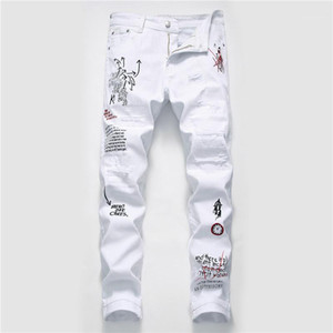 Trou Hommes Jeans Fashion Designer Ripped Washed Graffiti Imprimer Hommes Jeans Casual Zipper hommes Fly Vêtements