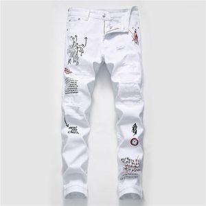 Agujero del diseñador del Mens Jeans Moda rasgado lavada impresión de la pintada Jeans para hombre casual con cremallera hombres Ropa