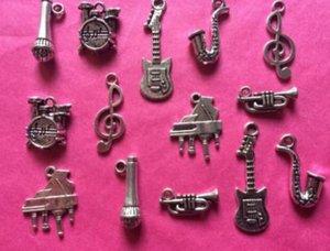 Instruments de musique Pendentifs Charms Piano Guitare Thèmes mixtes vintage d'argent pour les bracelets bijoux fabrication de perles Artisanat Bricolage Accessoires 160pcs