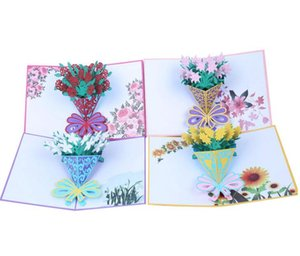 Flower 3D Pop Up Cards Rose Lily Sunflower Valentine Lover Happy Birthday Anniversary Greeting Cards For Birthday Valentine Holiday