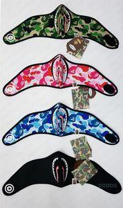 Nuit Masque lumineux Ape Shark Cartoon Faire du vélo moto demi-masque facial Designer Sports de plein air Ski Facemask Gardez Masques chaud D42801