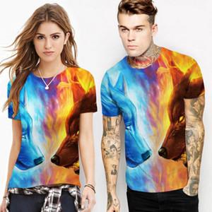 Manera de las mujeres de los hombres de la historieta 3D de verano Imprimir Lobo Guerra de la camiseta de manga corta de la camiseta TopsT