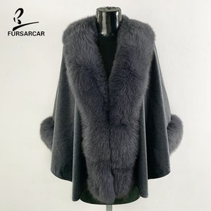 FURSARCAR 2019 New Women Grey 울 케이프 큰 Real Genuine Nature Fur 칼라 및 커프