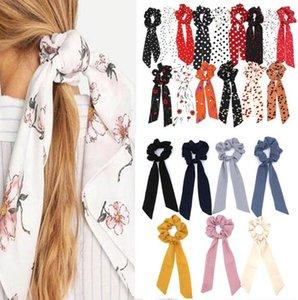 15 unids / lote caliente Bohemian Polka Dot Floral Printed Ribbon Bow Scrunchies Mujeres Banda elástica para el cabello Bufanda Cuerda Corbatas Niñas Accesorios para el cabello