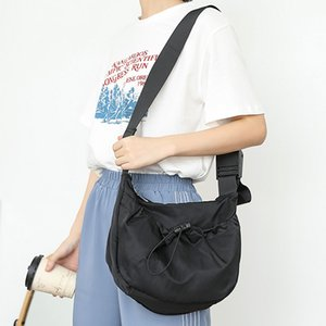 Youth Casual Nylong Fabric Black Handbag Female Korean Fashion Daily Light Small Size White Messenger Bag for Teenager Student
