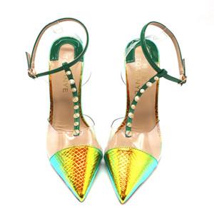 Бесплатная доставка Модельер насосы заостренные ног пятки желтый зеленый змея питон T ремень с шипами лодыжки ремень женщин леди женского летом