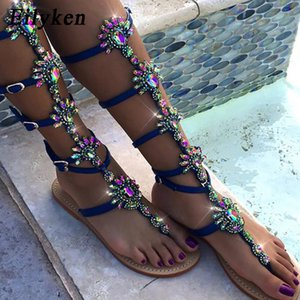 Eilyken 2019 New Summer Flats Sandalo Gladiator Oro blu Crystal Knee Cinturino con fibbia alta Stivali da donna Scarpe stile BoemiaMX190830
