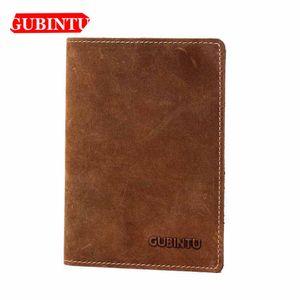 GUBINTU genuíno couro de vaca Curto Homens Carteiras Passcard Titular ID Card Titular Fina Carteiras Vintage por Homem