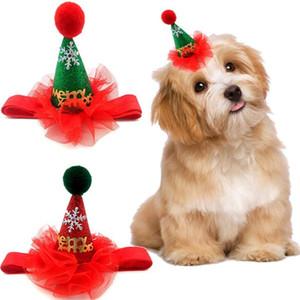 Natale Cane Gatto Hat design Puppy Dog Cappelli con archetto Carino paillettes Headwear Cap Xmas Party Animali Accessori