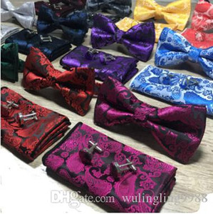 Paisley Bow Tie Set Bow Tie And Hanky & Cufflinks Set Silk Jacquard Woven Men Butterfly BowTie Pocket Square Handkerchief Suit Wedding 10 Se