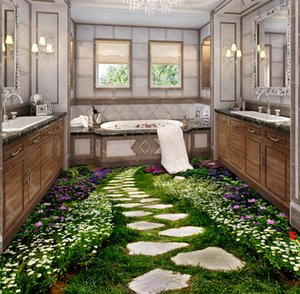 [Autoadhesivo] 3D Grass Paved Stone Road 237 Floor Wallpaper Mural Wall Print Decal Murales de pared