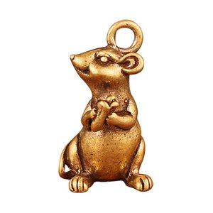 Miniature Brass Rat Pendant Mouse Ornament Statue Figurine Home Office Decors Lucky Artwork Gifts Animal Mouse Vintage Antique